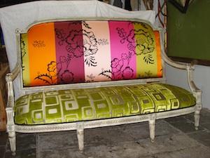 Canapé garni avec des tissus Designer Guild