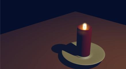 Animation 3D d'une bougie